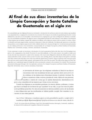 Al final de sus días: inventarios de la Limpia Concepción y Santa Catalina de Guatemala en el siglo XVII