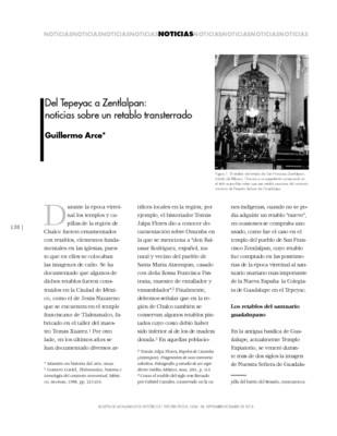 Del Tepeyac a Zentlalpan: noticias sobre un retablo transterrado