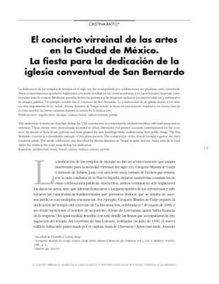 El concierto virreinal de las artes en la Ciudad de México. La fiesta para la dedicación de la iglesia conventual de San Bernardo