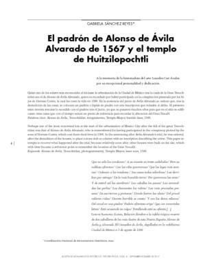 El padrón de Alonso de Ávila Alvarado de 1567 y el templo de Huitzilopochtli