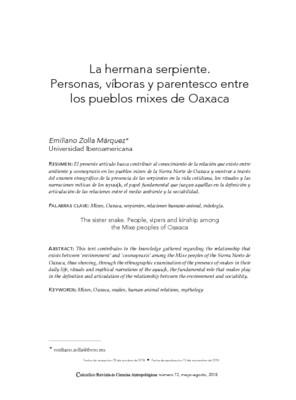 La hermana serpiente. Personas, víboras y parentesco entre los pueblos mixes de Oaxaca