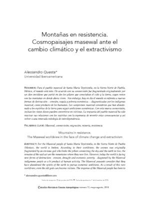 Montañas en resistencia. Cosmopaisajes masewal ante el cambio climático y el extractivismo