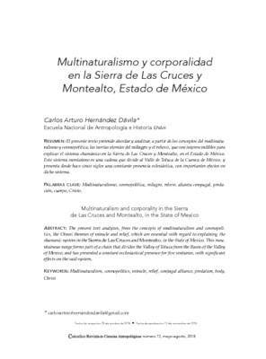 Multinaturalismo y corporalidad en la Sierra de Las Cruces y Montealto, Estado de México