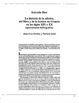 La historia de la edición, del libro y de la lectura en Francia en los siglos XIX y XX