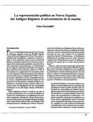 La representación política en Nueva España: del Antiguo Régimen al advenimiento de la nación