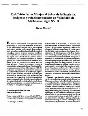 Del Cristo de las Monjas al Señor de la Sacristía. Imágenes y relaciones sociales en Valladolid de Michoacán, siglo XVIII