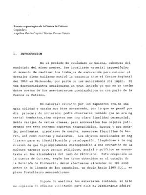 Rescate arqueológico de la cuenca de Cuitzeo: Copándaro