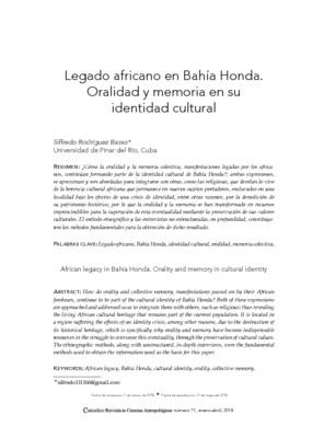 Legado africano en Bahía Honda. Oralidad y memoria en su identidad cultural