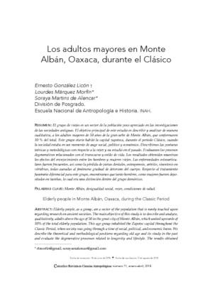 Los adultos mayores en Monte Albán, Oaxaca, durante el Clásico