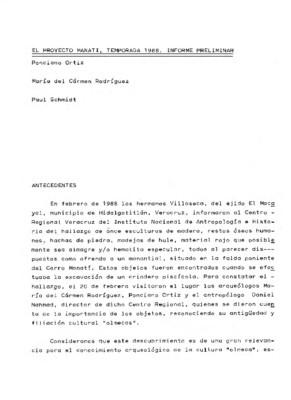 El Proyecto Manatí, temporada 1988. Informe preliminar