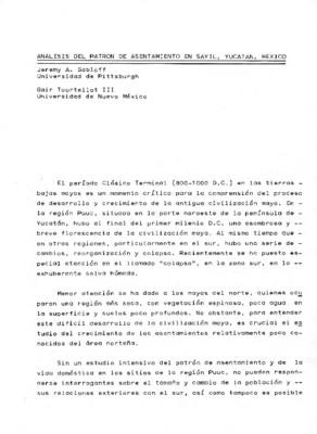 Análisis del patrón de asentamiento en Sayil, Yucatán, México