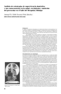 Análisis de estrategias de supervivencia doméstica y sus consecuencias en la salud, crecimiento y nutrición del preescolar