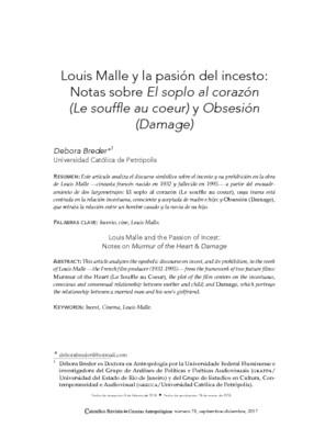 Louis Malle y la pasión del incesto: Notas sobre El soplo al corazón (Le souffle au coeur) y Obsesión (Damage)