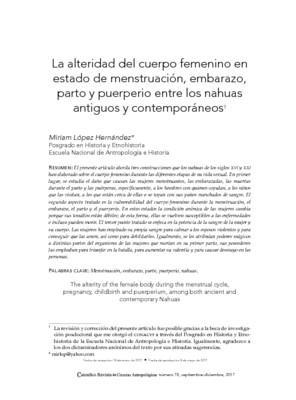 La alteridad del cuerpo femenino en estado de menstruación, embarazo, parto y puerperio entre los nahuas antiguos y contemporáneos