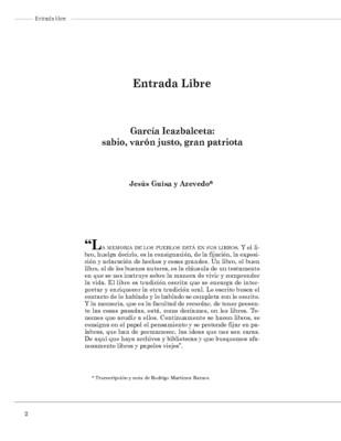 García Icazbalceta: sabio, varón justo, gran patriota