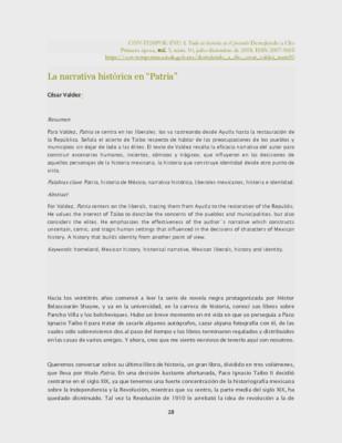 """La narrativa histórica en """"Patria"""""""