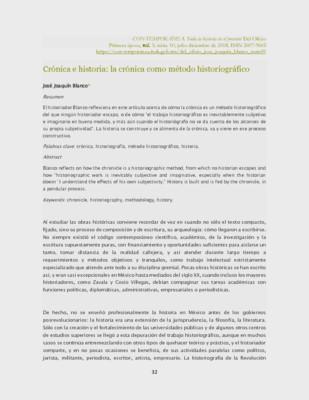 Crónica e historia: la crónica como método historiográfico