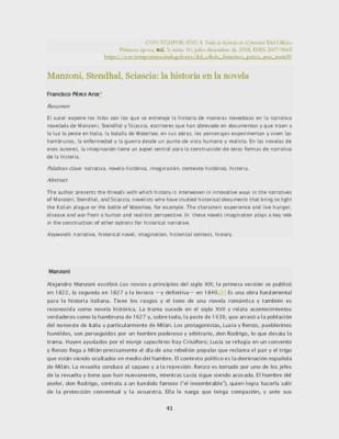 Manzoni, Stendhal, Sciascia: la historia en la novela