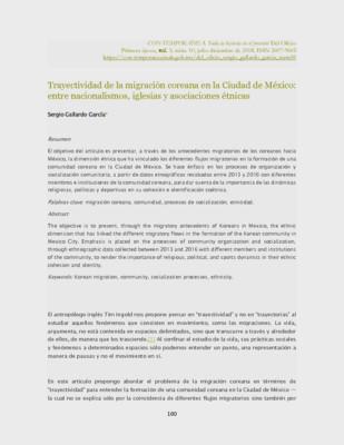 Trayectividad de la migración coreana en la Ciudad de México: entre nacionalismos, iglesias y asociaciones étnicas
