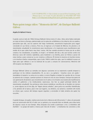 """Para quien tenga oídos: """"Memoria del 68"""", de Enrique Ballesté Gálvez"""