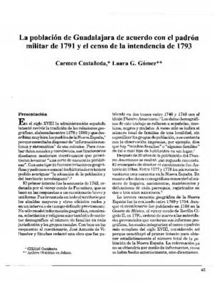La población de Guadalajara de acuerdo con el padrón militar de 1791 y el censo de la intendencia de 1793