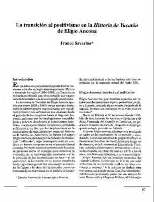 La transición al positivismo en la Historia de Yucatán de Eligio Ancona