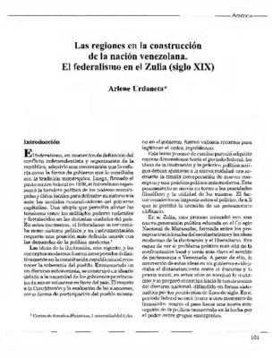 Las regiones en la construcción de la nación venezolana. El federalismo en el Zulia (siglo XIX)