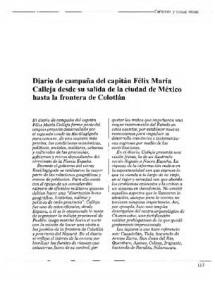 Diario de campaña del capitán Félix María Calleja desde su salida de la ciudad de México hasta la frontera de Colotlán
