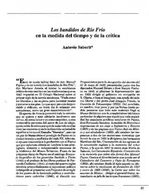 Los bandidos de Río Frío en la medida del tiempo y de la crítica