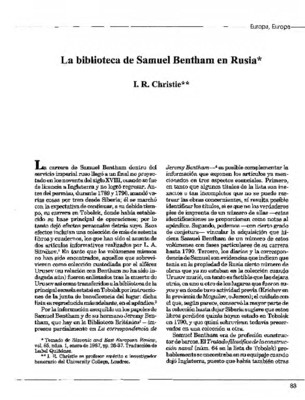 La biblioteca de Samuel Bentham en Rusia