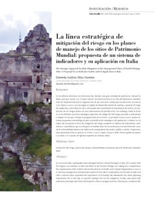 La línea estratégica de mitigación del riesgo en los planes de manejo de los sitios de Patrimonio Mundial: propuesta de un sistema de indicadores y su aplicación en Italia
