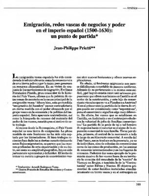 Emigración, redes vascas de negocios y poder en el imperio español (1500-1630): un punto de partida