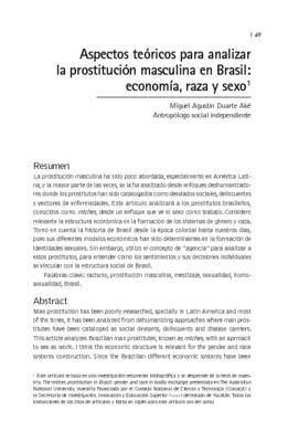 Aspectos teóricos para analizar la prostitución masculina en Brasil: economía, raza y sexo