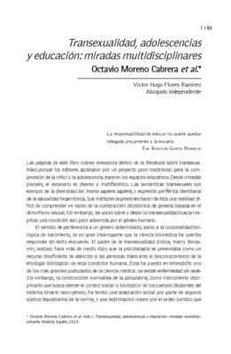 Transexualidad, adolescencias y educación: miradas multidisciplinares. Octavio Moreno Cabrera et al.*