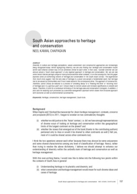 South Asian approaches to heritage and conservation