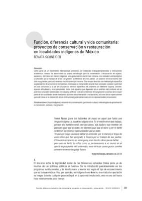 Función, diferencia cultural y vida comunitaria: proyectos de conservación y restauración en localidades indígenas de México