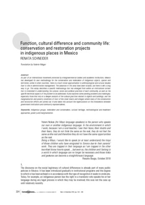 Function, cultural difference and community life: conservation and restoration projects in indigenous places in Mexico