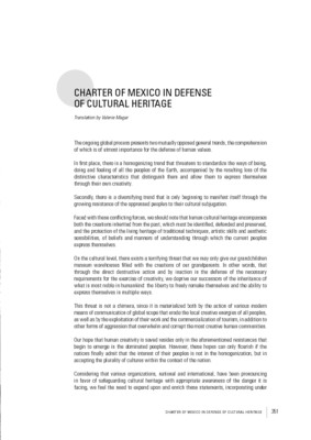 Charter of Mexico in defense of cultural heritage