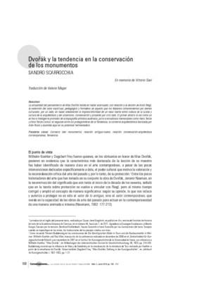 Dvořák y la tendencia en la conservación de los monumentos