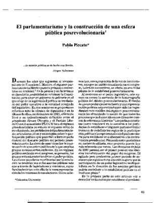 El parlamentarismo y la construcción de una esfera pública posrevolucionaria