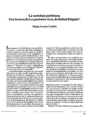 La sociedad porfiriana. Una lectura de Los parientes ricos, de Rafael Delgado