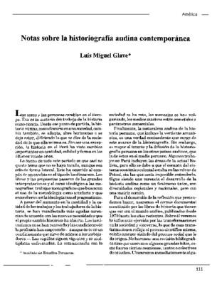 Notas sobre la historiografía andina contemporánea