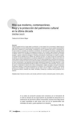 Más que moderno, contemporáneo. Riegl y la protección del patrimonio cultural en la última década