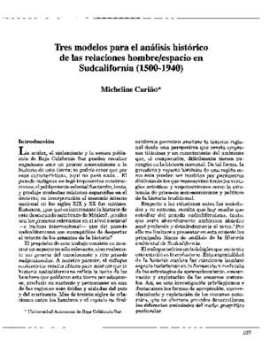 Tres modelos para el análisis histórico de las relaciones hombre/espacio en Sudcalifornia (1500-1940)