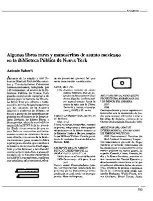 Algunos libros raros y manuscritos de asunto mexicano en la Biblioteca Pública de Nueva York