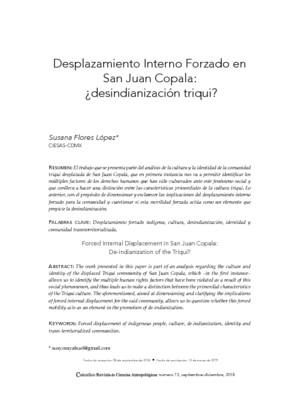 Desplazamiento Interno Forzado en San Juan Copala: ¿desindianización triqui?
