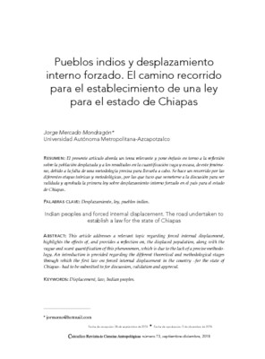 Pueblos indios y desplazamiento interno forzado. El camino recorrido para el establecimiento de una ley para el estado de Chiapas