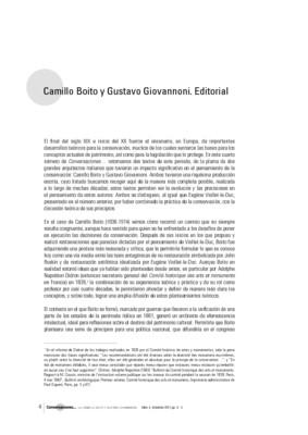 Camillo Boito y Gustavo Giovannoni. Editorial
