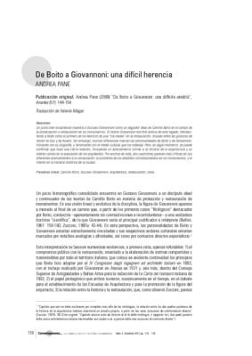 Boito a Giovannoni: una difícil herencia