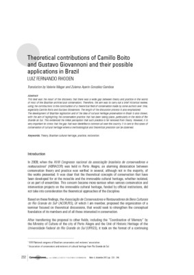 Theoretical contributions of Camillo Boito and Gustavo Giovannoni and their possible applications in Brazil